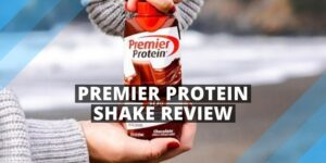 woman holding a protein shake nature on the background