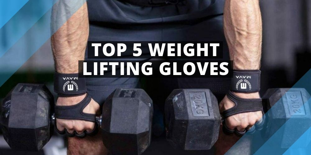 man exercising with dumbbells wearing gloves