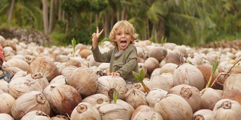 a little boy in a pile of coconuts