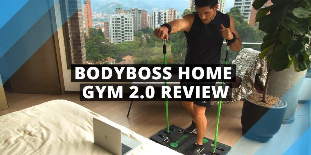 a man training in front of bed with the bodyboss home gym 2.0