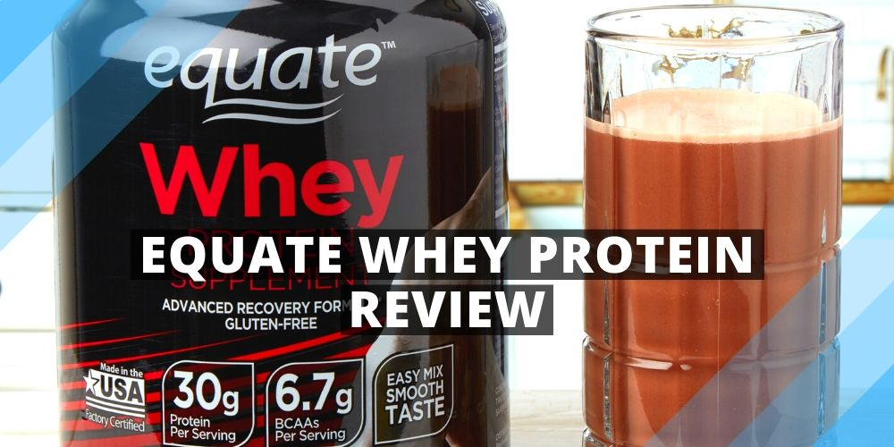 equate whey protein jar and a glass with protein shake