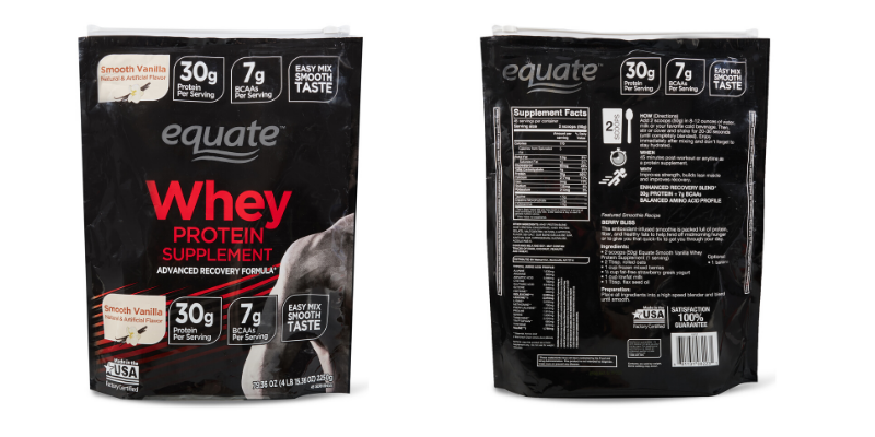 fron and back of equate protein powder bag