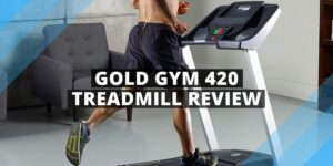 man running on a gold gym 420 treadmill