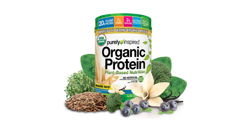 a jar of purely inspired organic protein powder surrounded by its ingredients