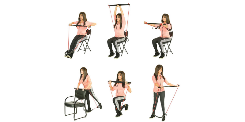 a woman showing different exercises with bodygym