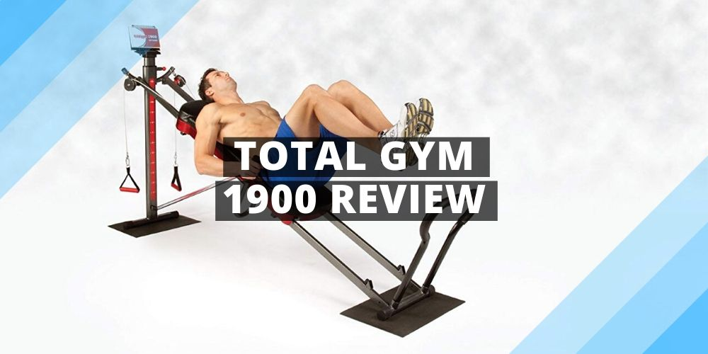 a man performing exercise with total gym 1900
