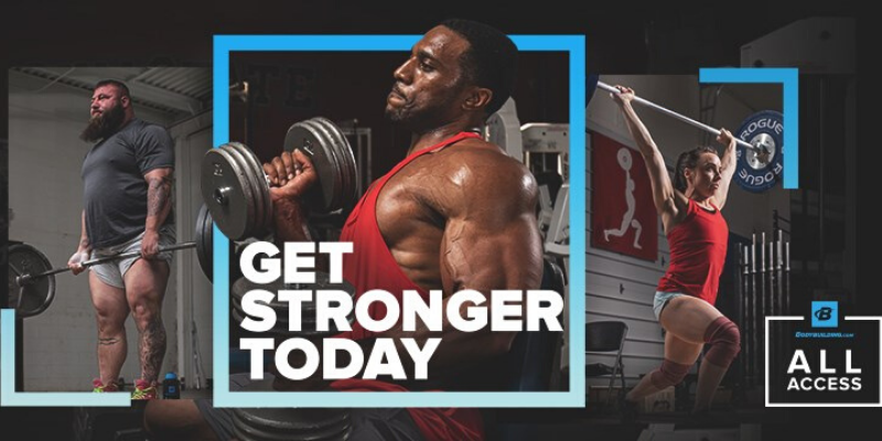 a collage of 3 people doing muscle workout and text 'get stronger today'