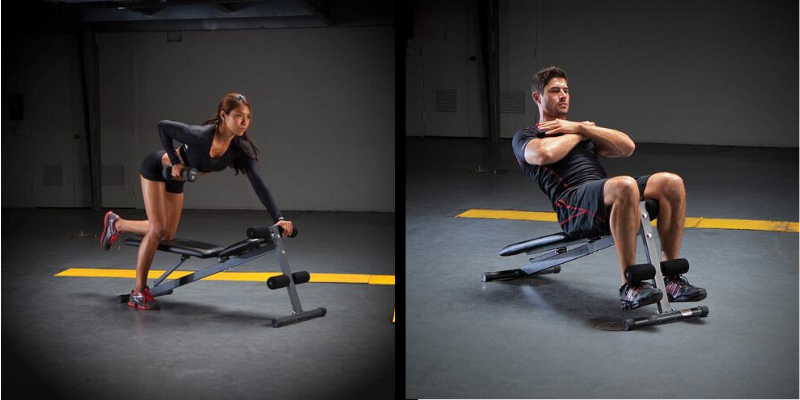 Woman and man doing exercises on a weight bench