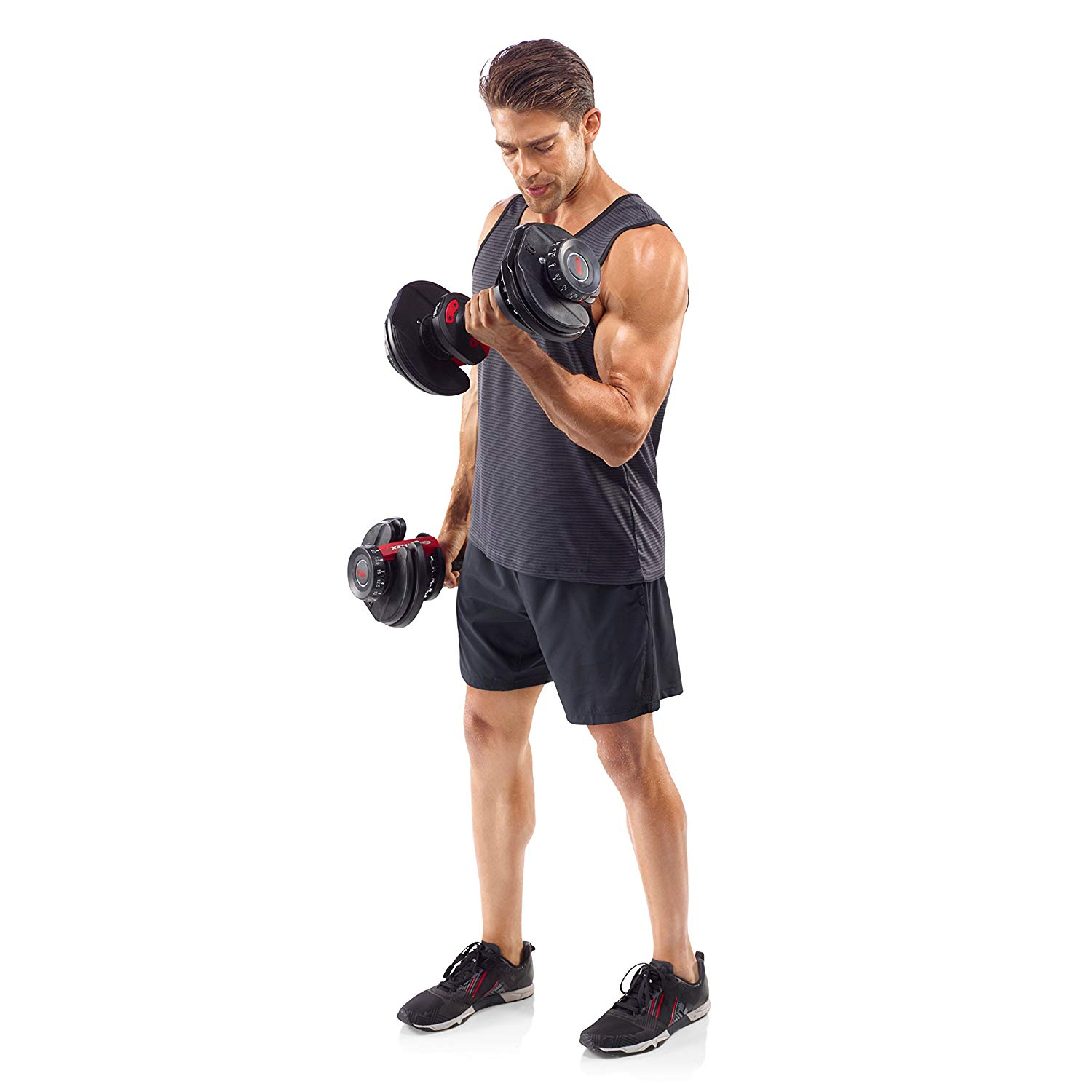 a man exercising with bowflex 552