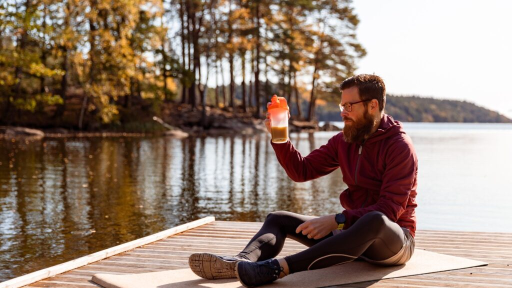 drinking pre workout supplement outdoor
